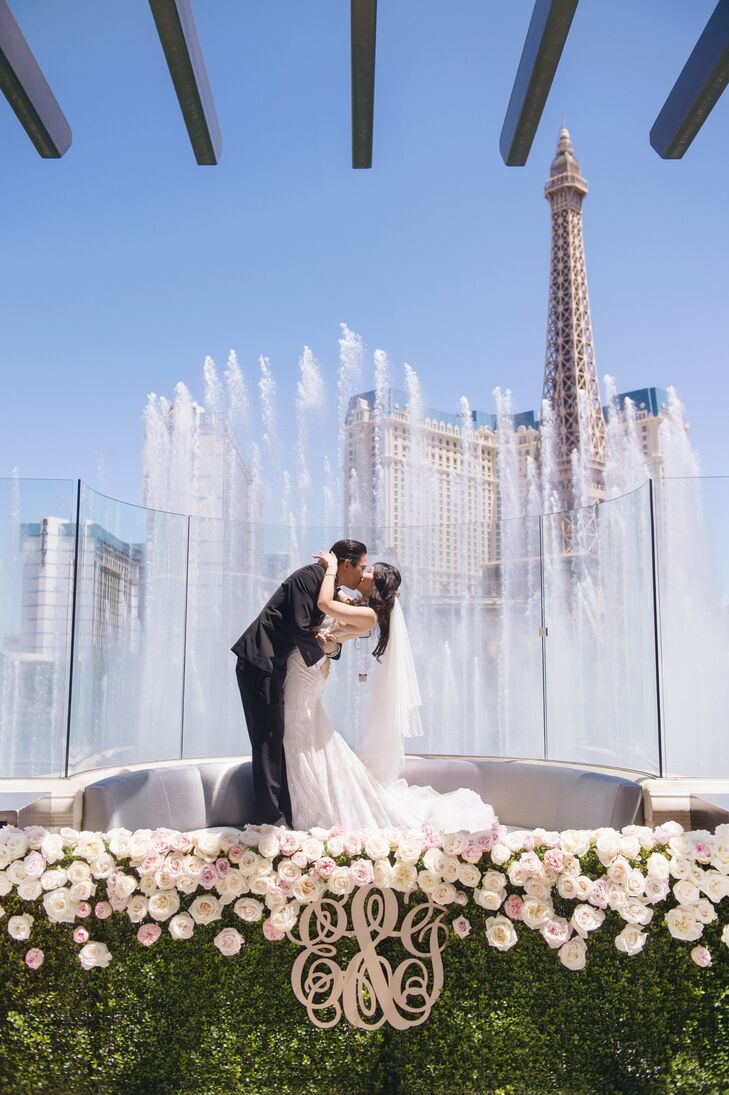Ethel and Jonathan said their vows in front of a water show at the Hyde nightclub at the Bellagio in Las Vegas, Nevada.