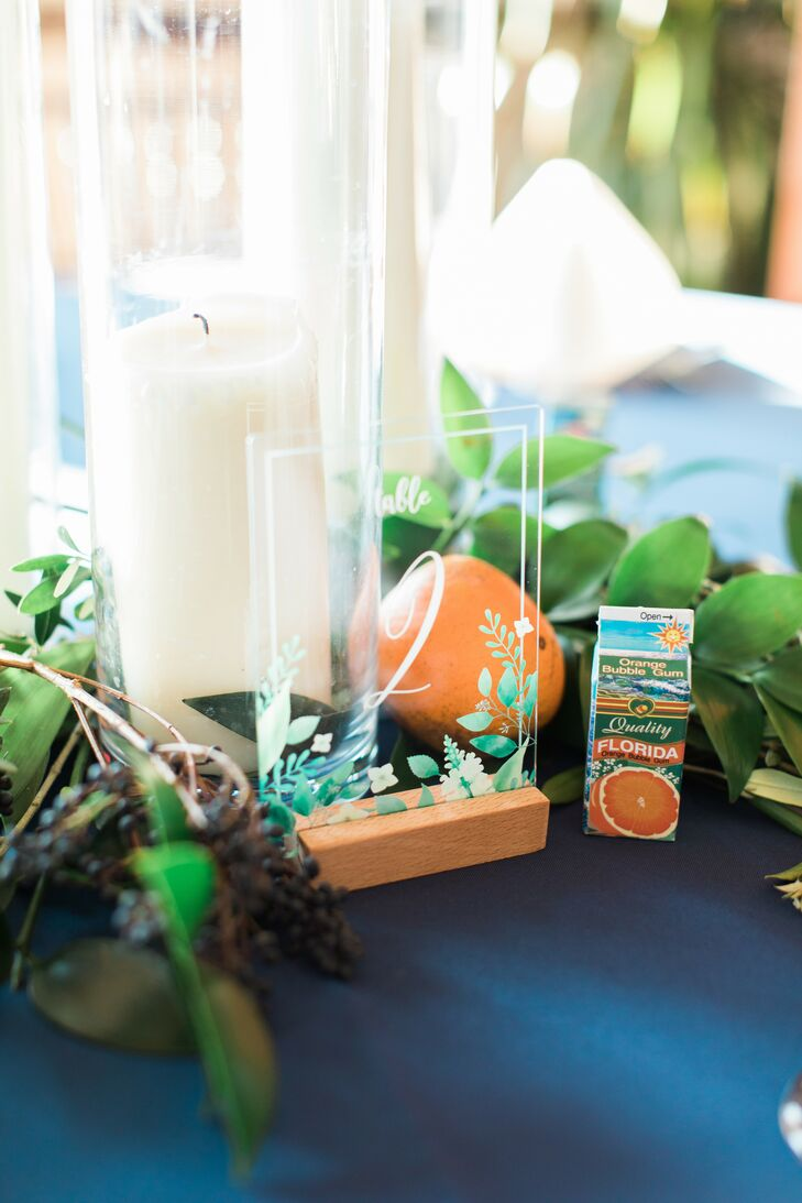 Acrylic Table Number with Oranges for Wedding at Tavares Pavilion on the Lake in Florida