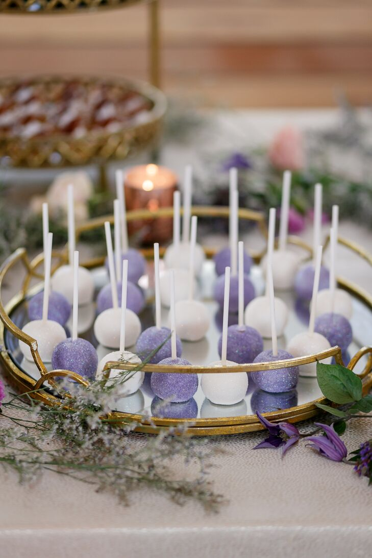 Purple and White Pops with Glitter Dusting