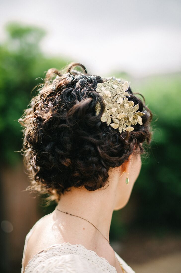 Gold Fabric Flower Hairpiece in Updo
