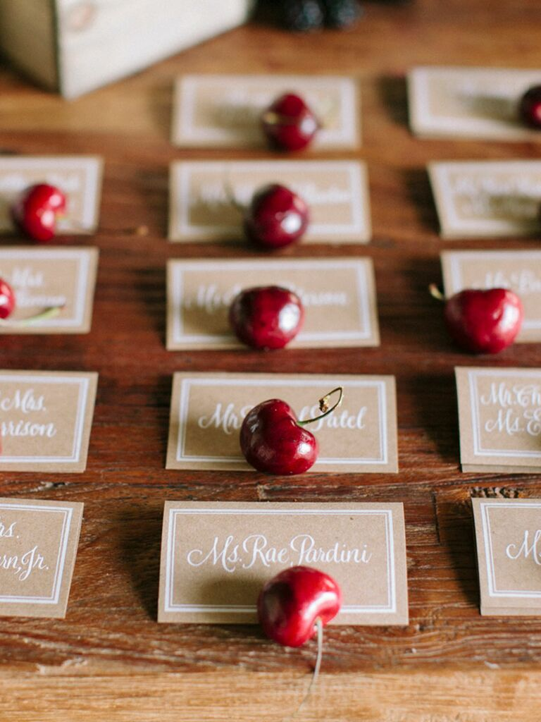 Fresh cherry escort card idea