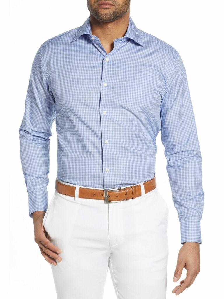 Gingham check button-up mens shirt