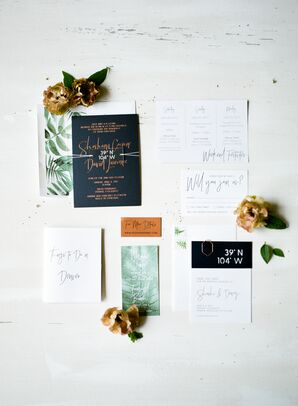Black and White Invitation Suite with Botanical Accents and Gold Foil