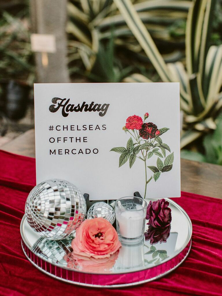 Retro wedding hashtag sign