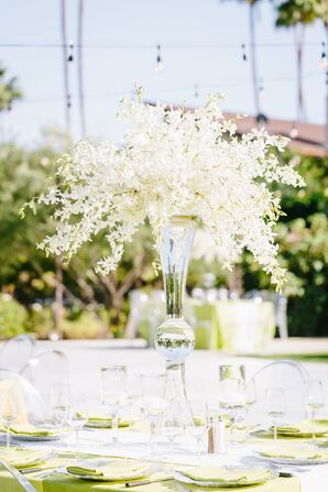 Tall Transparent Centerpiece with Dendrobium Orchids