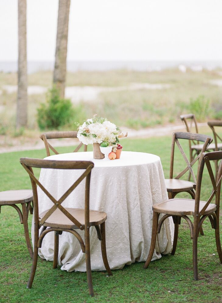 Wooden Cross Back Chairs at Neutral Table