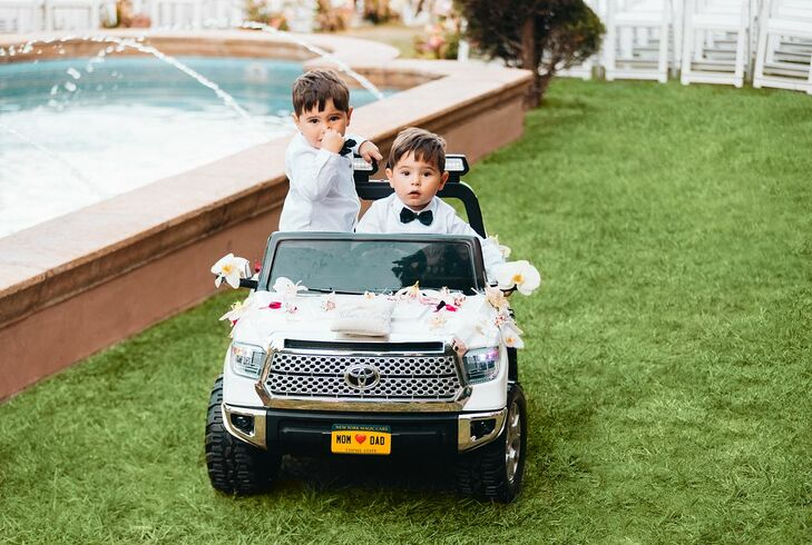 Twin Ring Bearers in Mini Remote-Controlled Car