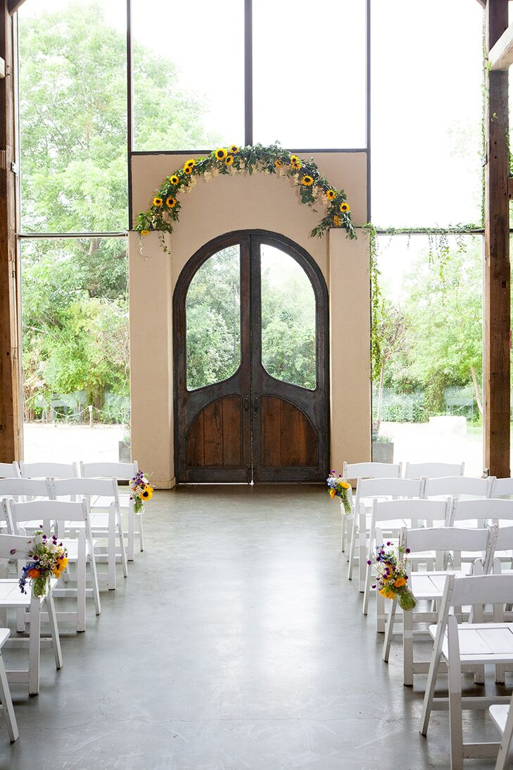 Sunflower Ceremony Arch at Barr Mansion in Austin