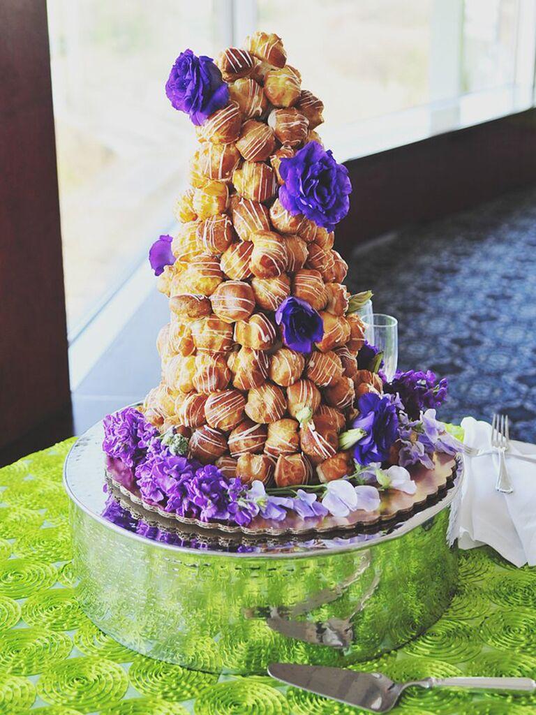 Wedding dessert display of doughnut holes