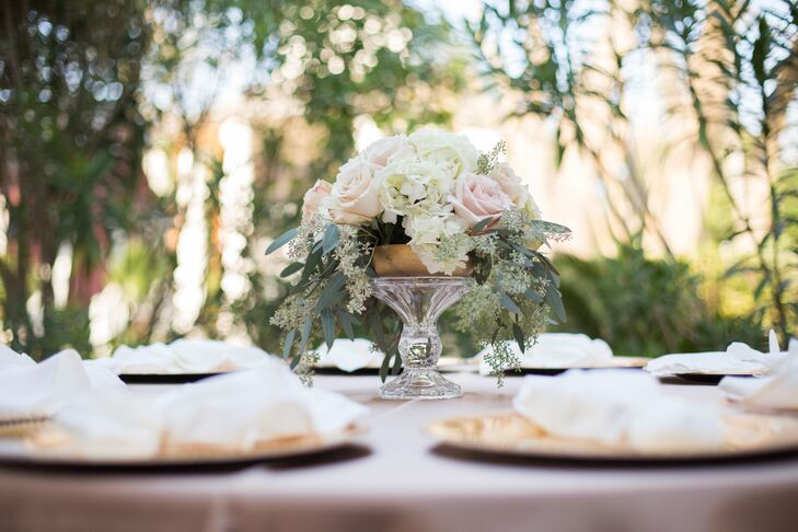 The floral centerpieces consisted of classic neutral tones to add to the romantic wedding theme.