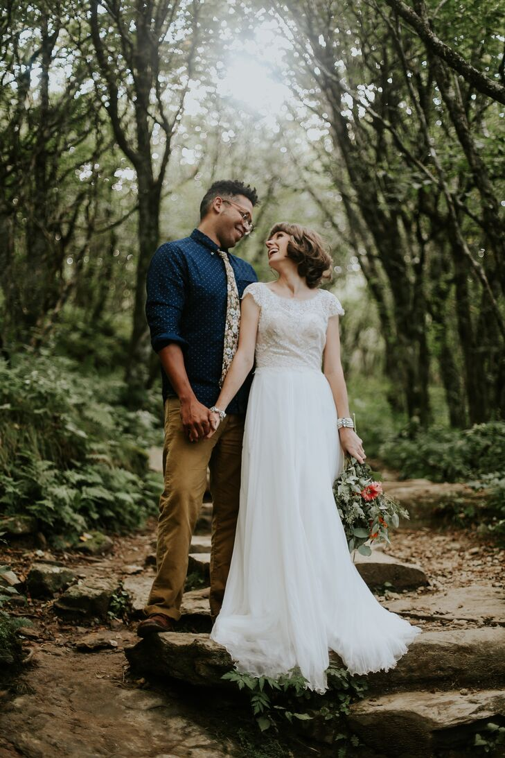 """Christian donned a flowing vintage-inspired gown with sweet lace detailing, a scoop-cut neck and short sleeves. """"I wanted an ethereal feel,"""" she of her flowing dress."""
