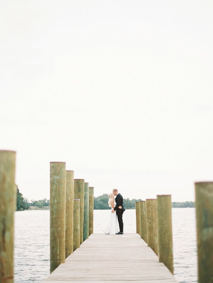 Couple Portraits on Pier at Wye River Estate Wedding