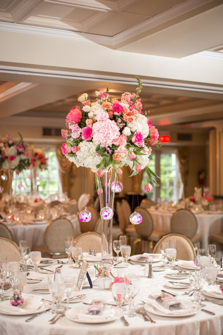 Tall Pink and White Centerpieces