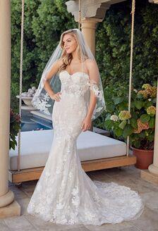 long sleeve Casablanca wedding dress with beaded bodice