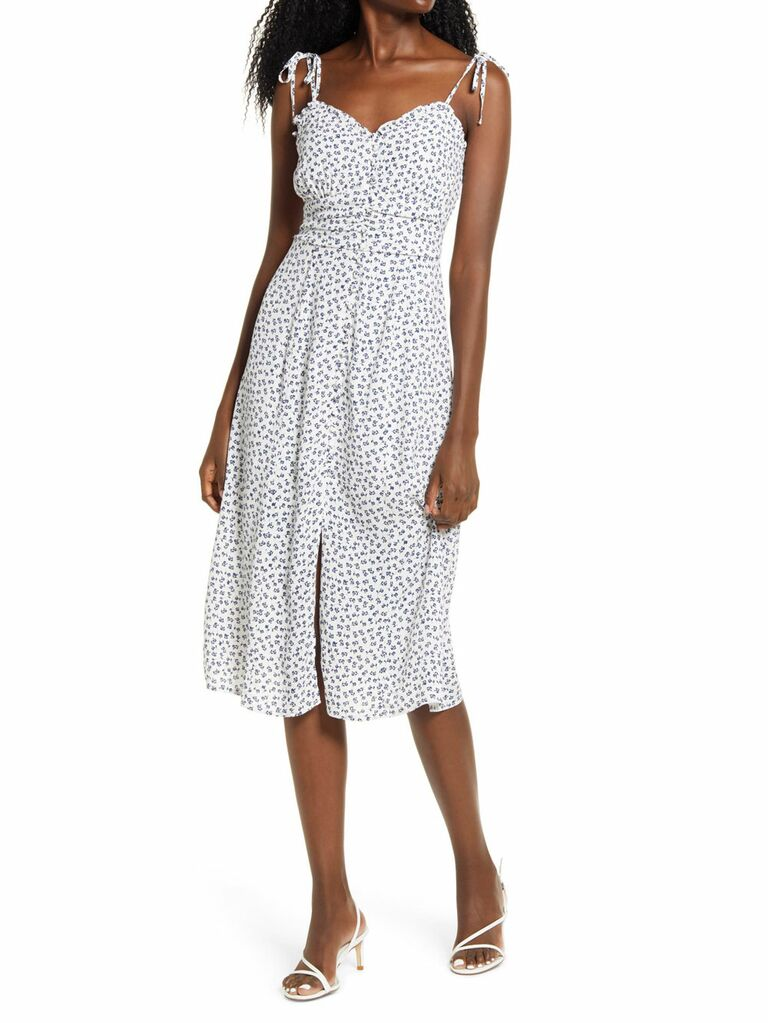 Blue and white button front midi dress with tie sleeves