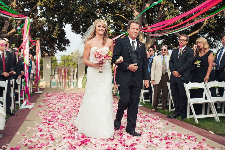 White and Pink Aisle Rose Petals
