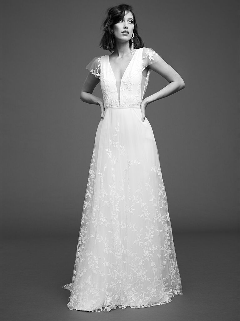 Rime Arodaky embroidered tulle gown
