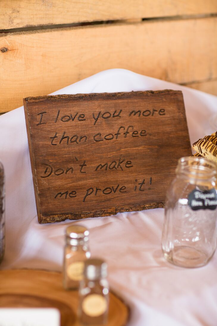 Wooden Coffee Quote Wedding Sign