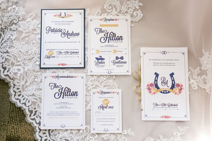 Equestrian-Inspired Invitations with Pops of Blue and Purple