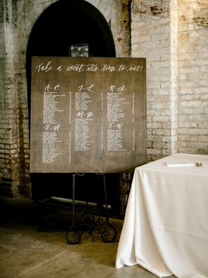 Modern Seating Chart Sign with White Calligraphy