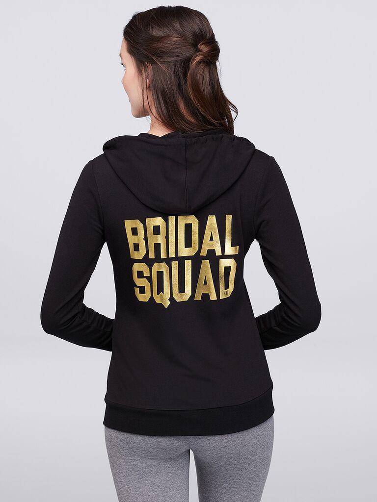 Bridal squad bridesmaid black hoodie David's Bridal