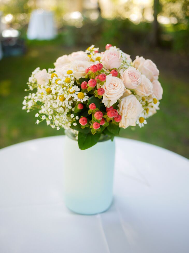 Rose, Hypericum and Baby's Breath Arrangement