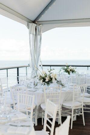 Modern, Elegant White Dining Tables at Gurney's Montauk in New York