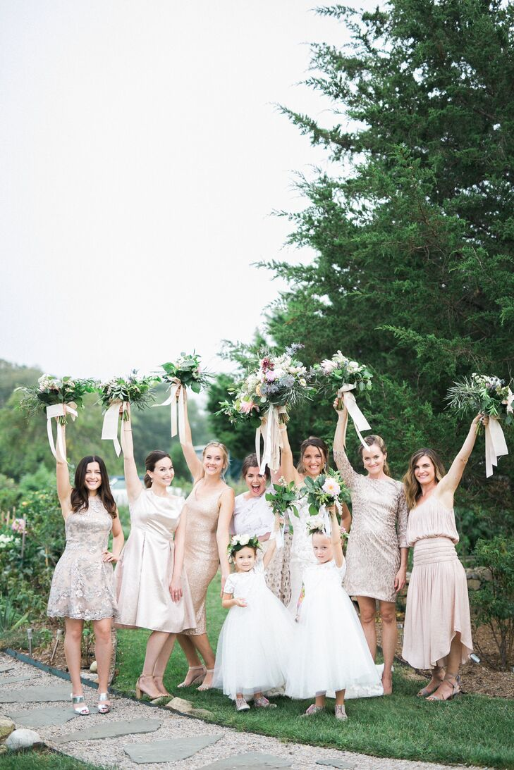 Mismatched, Neutral Bridesmaid Dresses