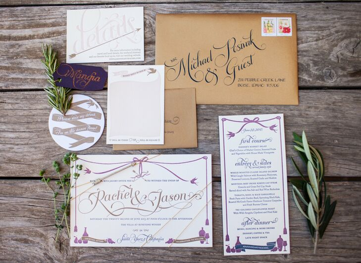 Paper goods are my business, so I was thrilled to have the opportunity to do things I've always wanted to do, Rachel says of the tricolor letterpress invitation suite she designed herself. I went all out!