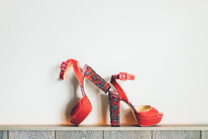 Alternative Red Heels with Sequined Design