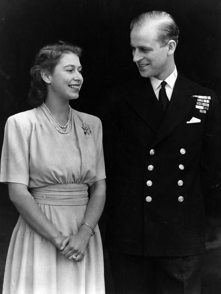 Photo of Queen Elizabeth and Prince Phillip during engagement announcement