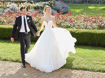 groom and bride in Morilee wedding dress