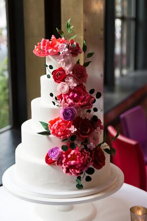 Tiered Cake with Bright Pink Peonies and Roses