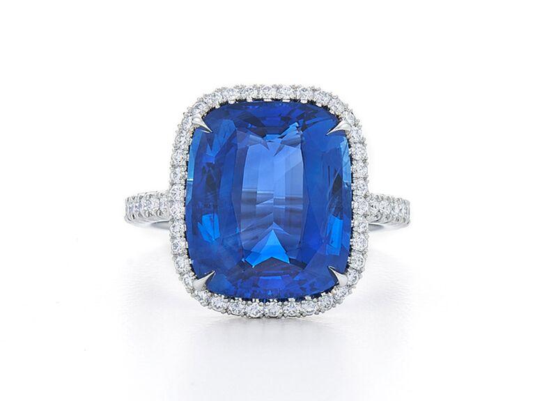 Cushion cut sapphire engagement ring on platinum band