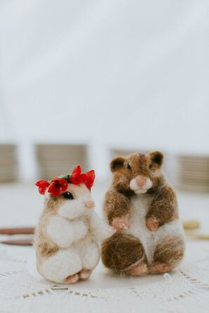Felted Bride and Groom Hamster Decorations