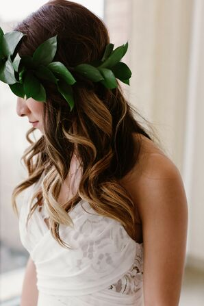 Bridal Hairstyle with Long Loose Waves and Greenery Crown
