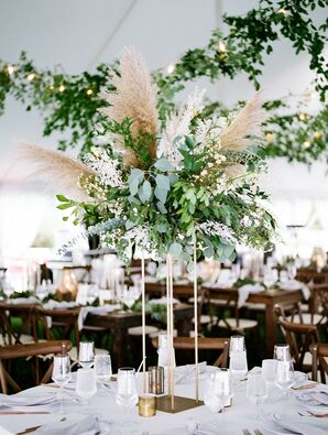 Rustic Tall Centerpiece with Greenery and Pampas Grass