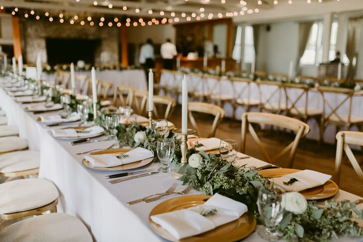 Lush Eucalyptus Garland and Gold Candlestick Centerpieces
