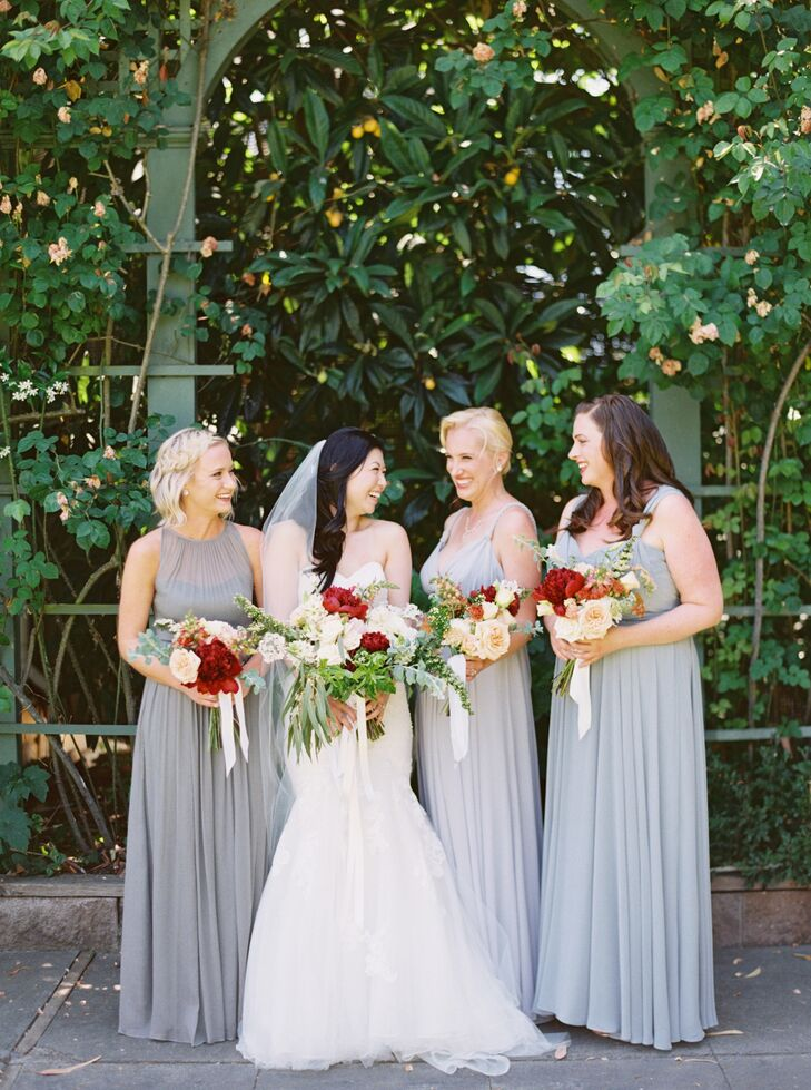 Romantic Stone-Colored Chiffon Bridesmaid Dresses
