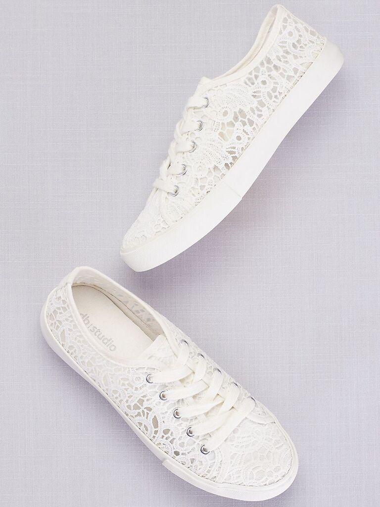 White lace crochet sneakers