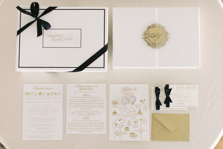 """Designing wedding stationery for her clients was common practice for Silje, so creating a custom set for her own nuptials was a no-brainer. Inspired by the theme and Villa Miani's timeless vibe, the couple chose elegant ivory card stock, which they decorated with gold script, a personalized monogram and a custom map. """"I always think it's important to feel inspired by something when you design the wedding of your dreams,"""" Silje says. """"Then it's much easier to create a signature look for all the wedding details."""""""
