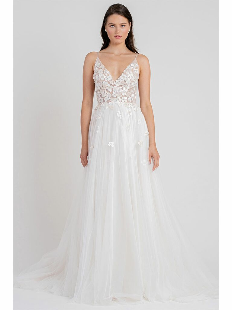 Jenny Yoo wedding dress a-line gown with floral apppliques