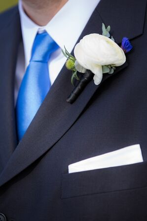 White Ranunculus With Scabiosa Boutonniere