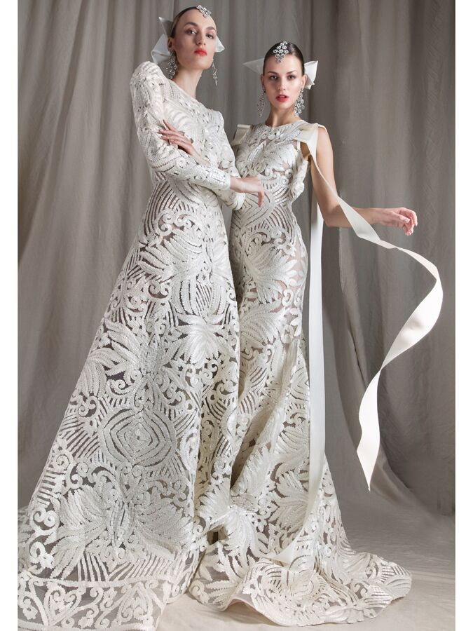 Naeem Khanl embroidered lace wedding dresses