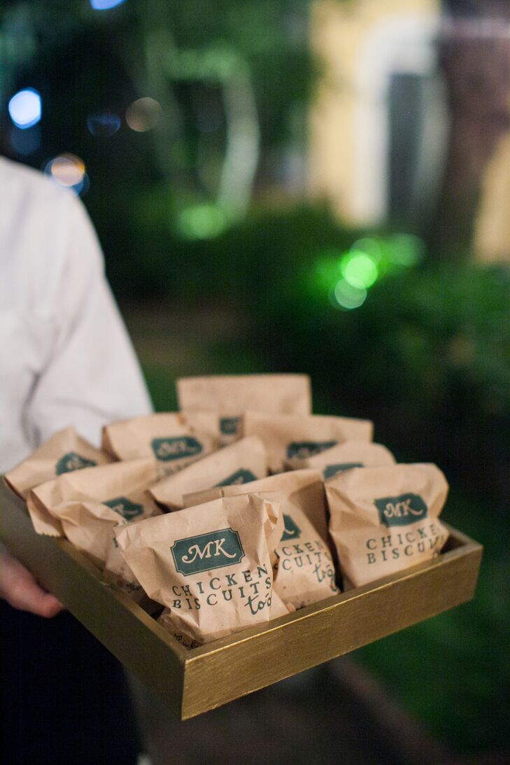 At the end of the night, Kathryn and Matthew passed out chicken biscuits and truffles fries that were packaged in monogrammed paper bags designed by Studio R.