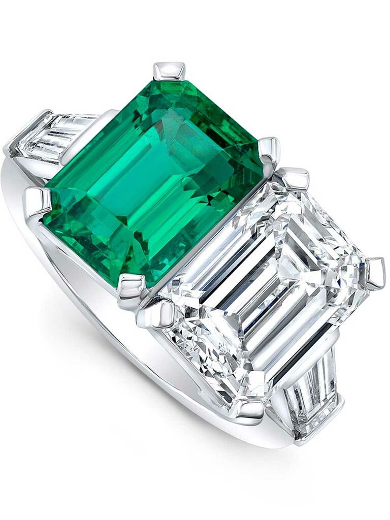 Bespoke emerald and diamond engagement ring with side baguette diamonds