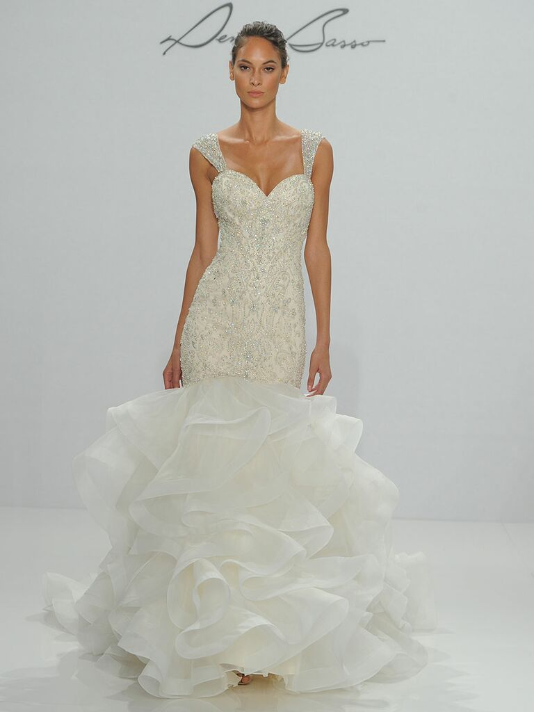 922bab970cf Dennis Basso for Kleinfeld Fall 2017 ivory It gold beaded embroidered  dropped waist mermaid wedding