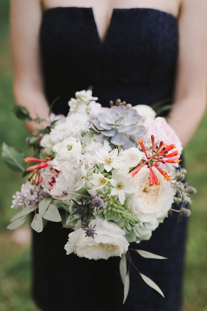 Thistle, Garden Rose and Eucalyptus Bouquet