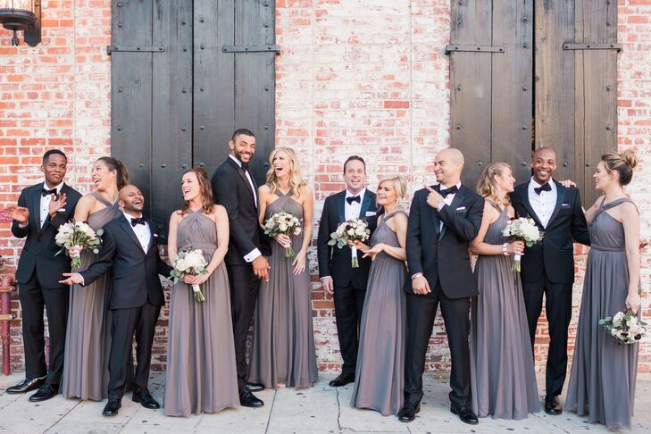 Gray Chiffon Bridesmaids Dresses with Halter