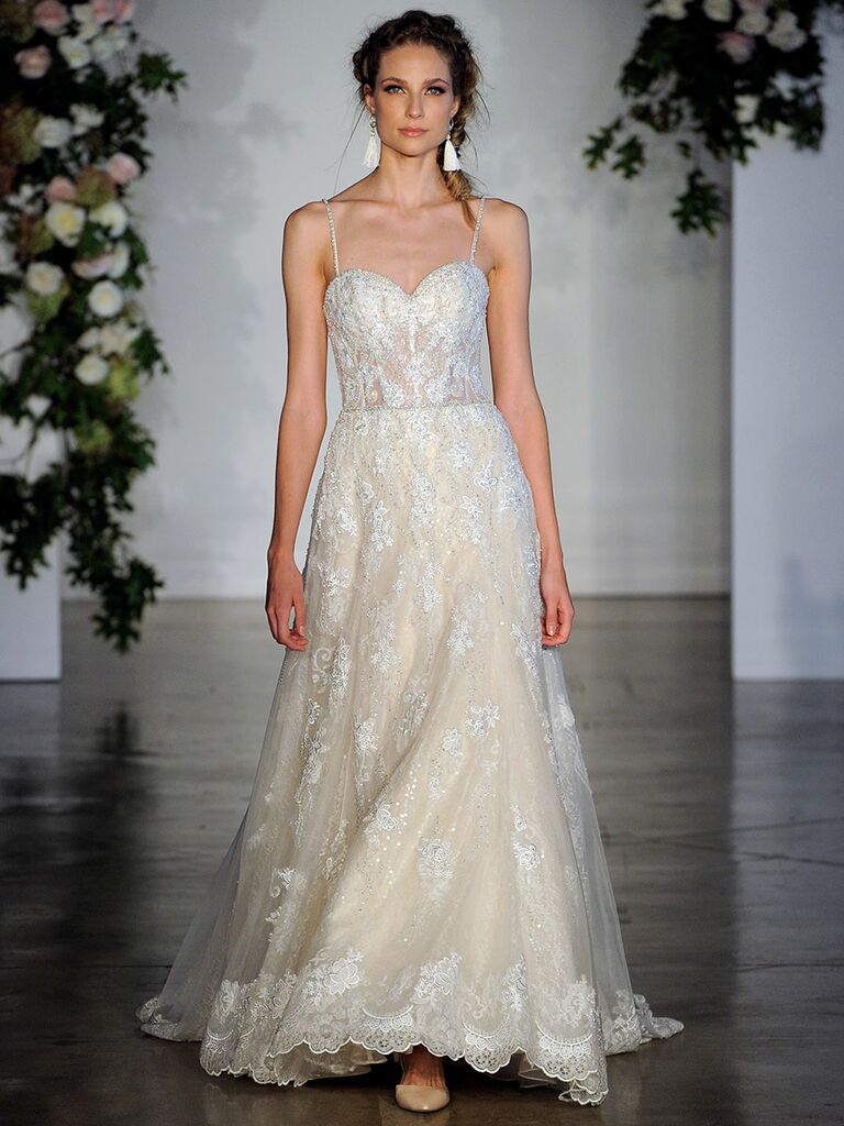 de47c950ca47 Mori Lee Fall 2018 wedding dresses gown with allover embroidery and sheer  bodice